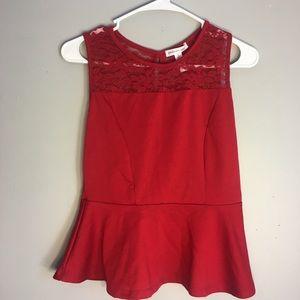 Vintage Red Peplum Shirt Lace Detailing